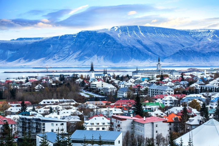 Beautiful aerial view of Reykjavik city, Iceland.